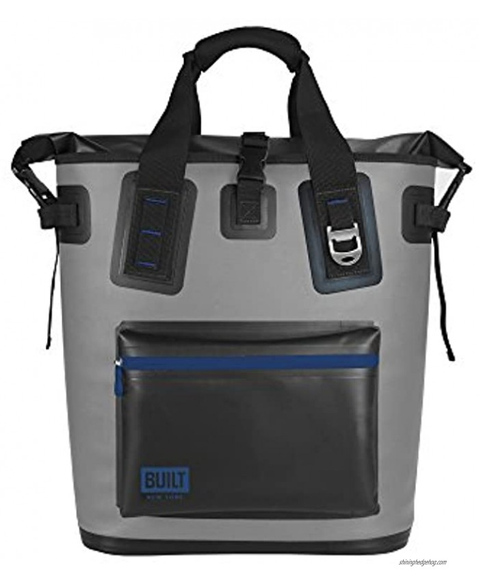 BUILT Welded Soft Portable Backpack Cooler with Wide Mouth Opening Insulated and Leak-Proof Gray 5233505