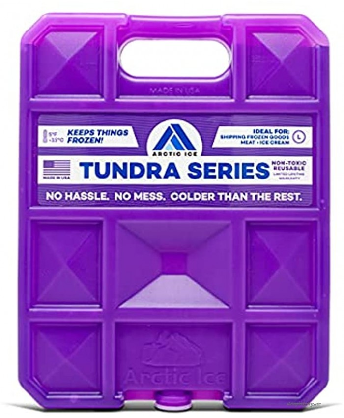 Long Lasting Ice Pack for Coolers Camping Fishing and More Large Reusable Ice Pack Tundra Series by Arctic Ice  Purple