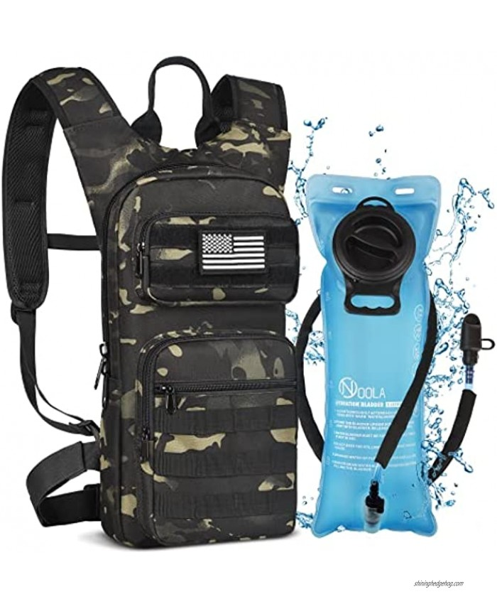 NOOLA Hydration Backpack with 3L TPU Water Bladder Tactical Molle Water Backpack for Men Women Hydration Pack for Hiking Biking Running and Climbing Black CP