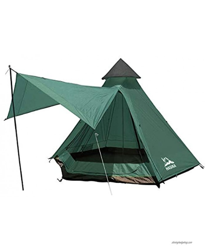 HASIKA Teepee Camping Conical Tent with Screen Room for Family Camping Waterproof Windproof 4 Person Green 12x10x8ft