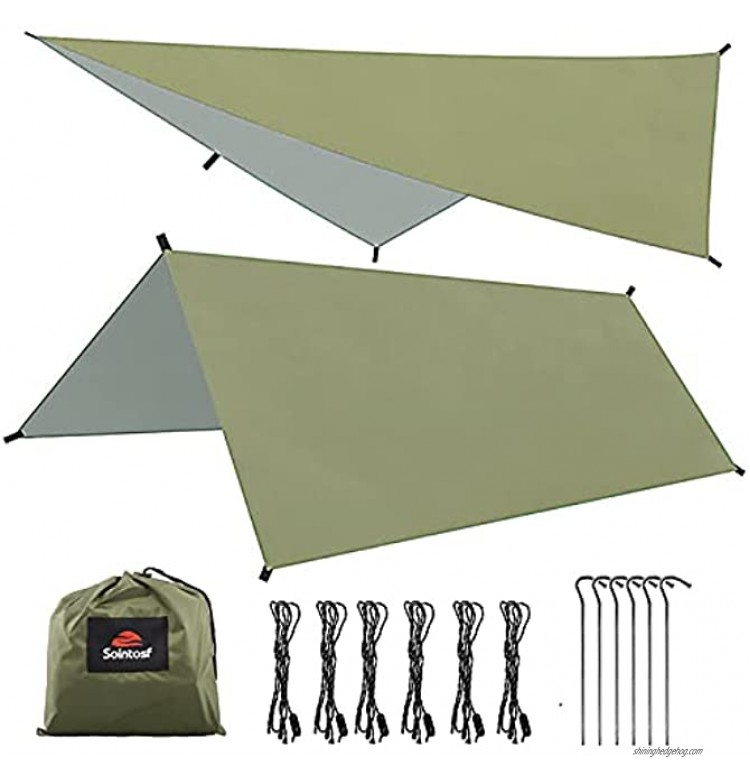 SOINTOSF 10X10FT Multifunctional Lightweight Waterproof Camping Tarp Tent Hammock Rain Fly Sunshade for Camping Hiking and Outdoor Activities