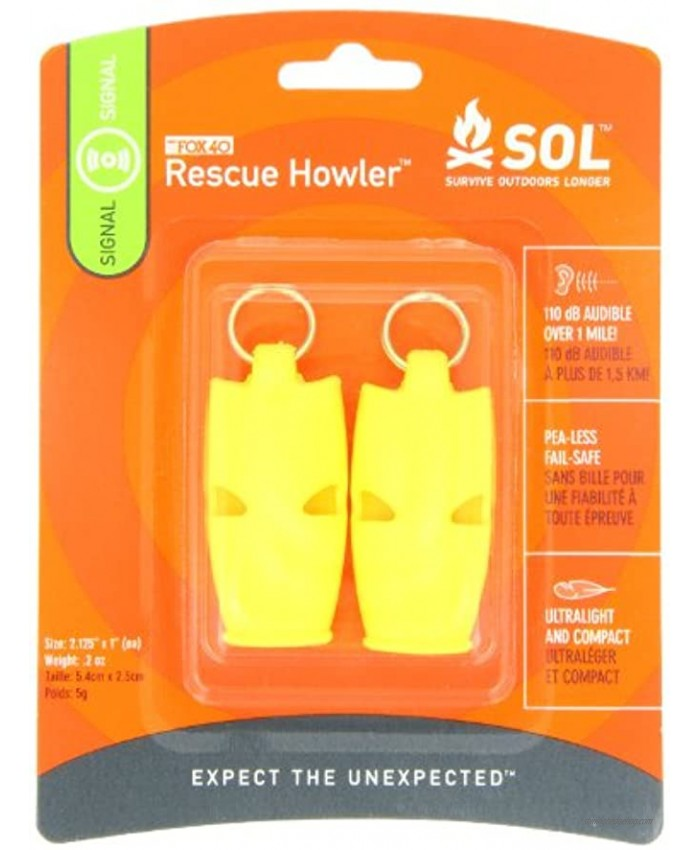 S.O.L. Survive Outdoors Longer Rescue Howler Whistle 2-Count 0140-1002