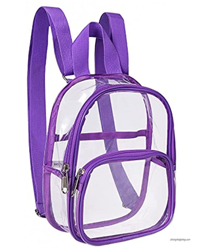 Clear Mini Backpack Stadium Approved Water proof Transparent Backpack for Work Security Travel Concert & Sport Event Purple