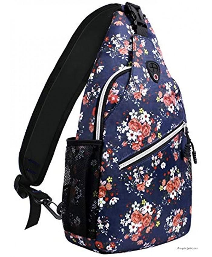 MOSISO Sling Backpack,Travel Hiking Daypack Pattern Rope Crossbody Shoulder Bag Navy Blue Base Floral