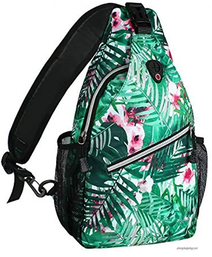 MOSISO Sling Backpack,Travel Hiking Daypack Pattern Rope Crossbody Shoulder Bag Palm Leaf Flower