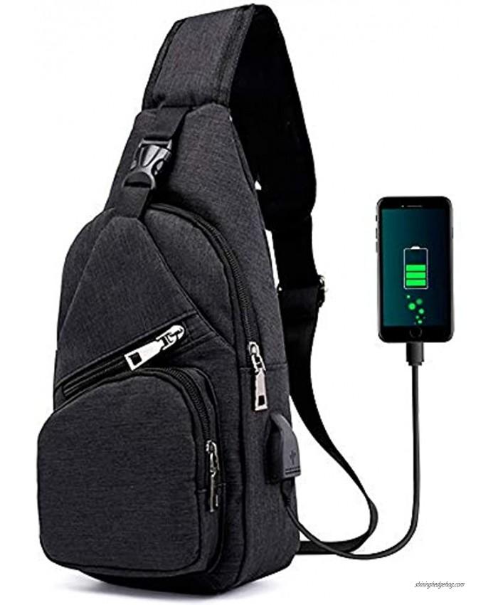 Sling Bag Shoulder Backpack Chest Bags Crossbody Daypack for Women & Men with USB Charging Port